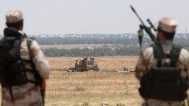 عناصر من الضبط الميداني التابع للمقاومة الفلسطينية شرق قطاع غزة