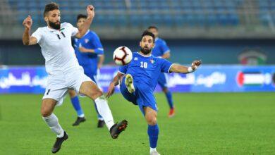 منتخب الكويت مع نظيره منتخب فلسطين
